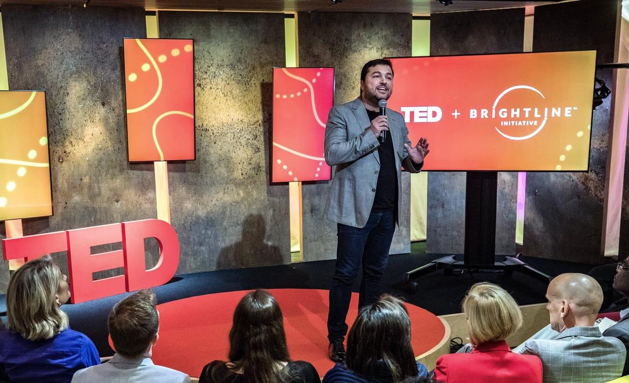 Ricardo introducing the Brightline Initiative at the TED Headquarters in New York City / 2017.